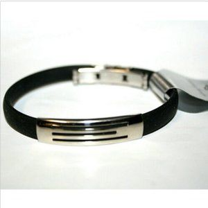 Fashion Bracelet Silver Slide Black Rubber Band